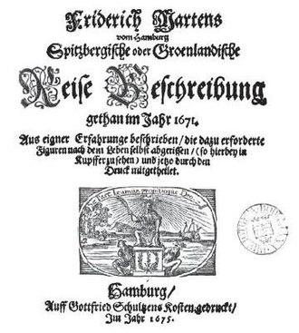 Friderich Martens - Cover of Martens' book, 1675