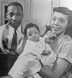 Martin Luther, Coretta Scott and Yolanda Denise King, 1956
