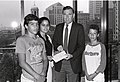 Mayor Raymond L. Flynn with unidentified children (9504744104).jpg