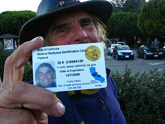 1996 California Proposition 215 - Medical cannabis card in Marin County, California, U.S.A.