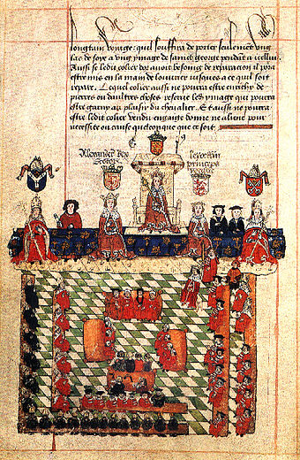 16th-century illustration of Edward I presiding over Parliament. The scene shows Alexander III of Scotland and Llywelyn ap Gruffudd of Wales on either side of Edward; an episode that never actually occurred. Medieval parliament edward.Jpg