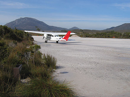 A tourist plane prepares for take-off from the Melaleuca Airstrip in the South West Wilderness of Tasmania Melaleuca Airstrip SW Tas.jpg