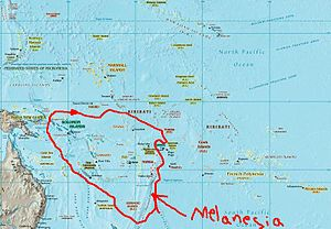 A map showing the location of Melanesia