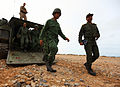 Members of the Royal Moroccan Armed Forces disembark an assault amphibious vehicle with U.S. Marines assigned to Battalion Landing Team 1st Battalion, 2nd Marine Regiment, 24th Marine Expeditionary Unit 120410-M-KU932-254.jpg