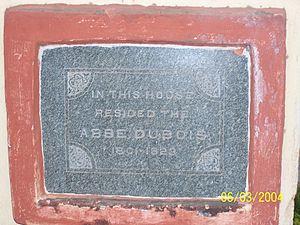 Jean-Antoine Dubois - Image: Memorial Plaque Abbe Dubois Chapel, Seringapatam