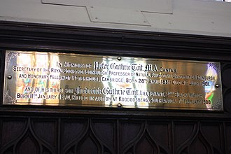 Peter Tait (physicist) - Memorial plaque to Peter Guthrie Tait, St Johns Episcopal Church, Edinburgh