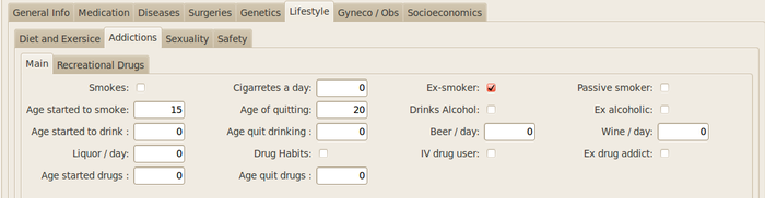GNU Health - Lifestyle - Addictions tab