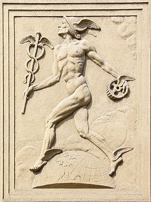 relief of Mercury (or of Hermes) at Obchodní a...