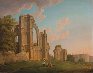 St Mary's Abbey, York - Painting of the surviving ruins by Michael Angelo Rooker in 1778