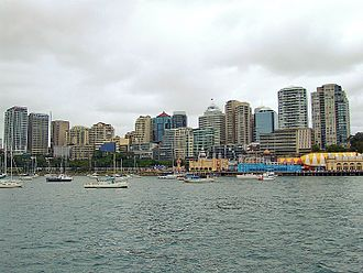 Milsons Point, New South Wales - Lavender Bay(left) and Milsons Point (right) with North Sydney skyline in the background