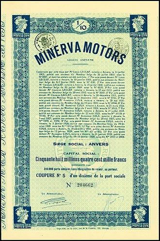 Minerva (automobile) - Part Sociale of the Minerva Motors S.A., issued 19. February 1929