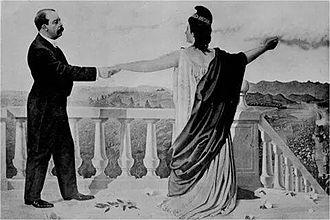 "Manuel Estrada Cabrera - Greek goddess Athena -Minerva- congratulates Estrada Cabrera on his accomplishments with his ""Minervalias"". Painting from ca. 1905."