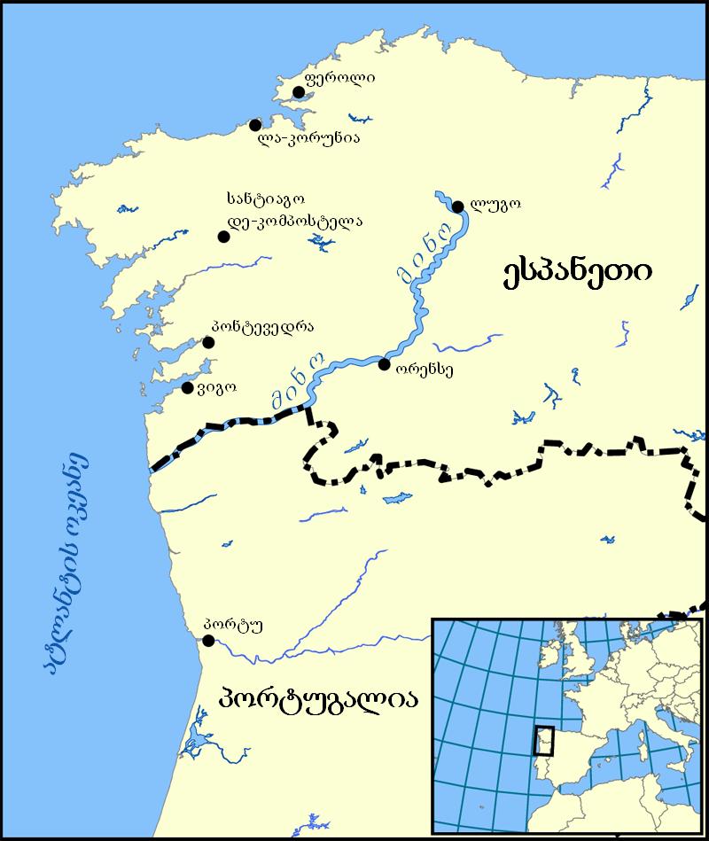 Minho River map ka