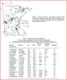 This map and table shows where Minnesota's earthquakes have occurred. Earthquakes 1, 6, 9, 11, 15 and 18 are in the Great Lakes tectonic zone.