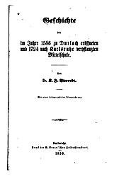 Geschichte der im Jahre 1586 zu Durlach eröffneten und 1724 nach Karlsruhe verpflanzten Mittelschule