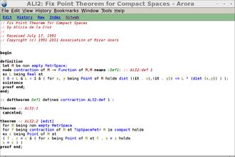 Mizar system - Image: Mizar Math Wiki screenshot