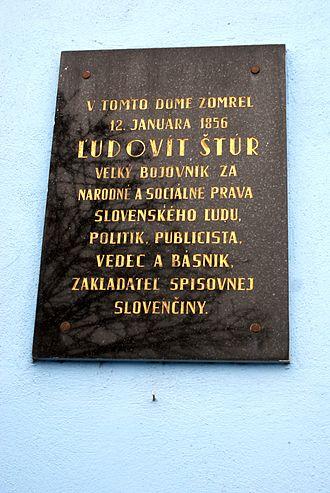 Modra - Memorial plate of Ľudovít Štůr on the Museum wall