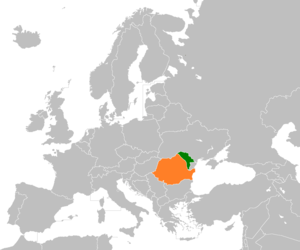 Controversy over ethnic and linguistic identity in Moldova - Map of Europe, showing Moldova (green) and Romania (orange).