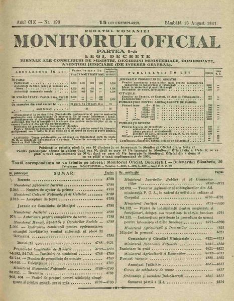 File:Monitorul Oficial al României. Partea 1 1941-08-16, nr. 193.pdf
