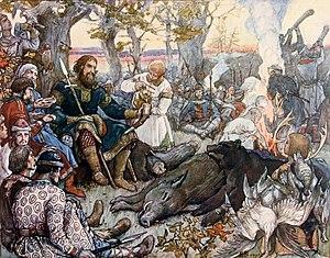 Ο Βλαδίμηρος ξεκουράζεται μετά από κυνήγι, πίνακας του Βίκτορ Βασνέτσοβ