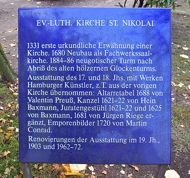 Hamburg (Moorfleet),  Germany: The Nicholas Church: plaque