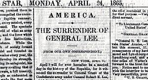 Samuel Lucas - Lucas never saw the story of General Lee's surrender in his newspaper on 24 April 1865.
