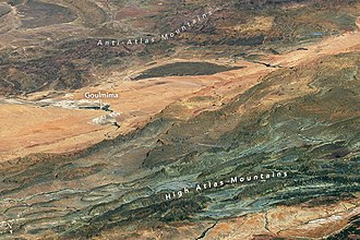 Atlas Mountains - Satellite photograph of the High Atlas and Anti-Atlas Mountains. North is at the bottom; the city of Goulmima can be seen at center left.