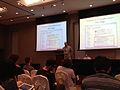 "Morten Warncke-Wang's talk ""Tell Me More- An Actionable Quality Model for Wikipedia"", WikiSym 2013, Hong Kong.jpg"