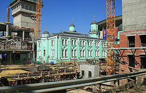 Moscow Cathedral Mosque - The historic Cathedral Mosque surrounded by the construction site of the new mosque (2009)