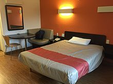 A photo of the interior of a Motel 6 room located in Braintree, Massachusetts