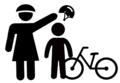 Mother Puts Helmet on Child with Bicycle for Bike Safety - silhouette mask signage.png