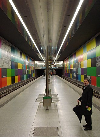 Metro station - Georg-Brauchle-Ring station of the Munich U-Bahn, Germany