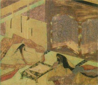 The Diary of Lady Murasaki - Empress Shōshi and Murasaki reading Bai Juyi's poems in Chinese. From the Murasaki Shikibu Nikki Emaki, 13th century.