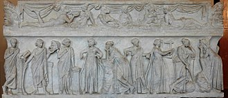 Theogony - The nine muses on a Roman sarcophagus (second century AD)—Louvre, Paris