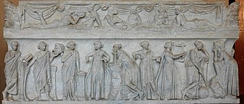 LES MUSES. dans -Histoires et légendes. 350px-Muses_sarcophagus_Louvre_MR880