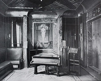 Peter Behrens - Behrens' house at the Darmstadt Artists' Colony: music room, with Schiedmayer grand piano 1901