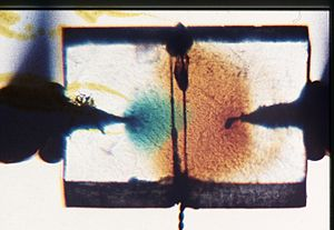 Robert Pohl - n- and p-type conduction: visualization of n-type conduction (at left by electrons, green) and of p-type conduction (at the right by holes, brown) in a KI crystal. The cathode (at left) and the anode (right) are Pt needles which have been melted into the crystal.  From R.W. Pohl, Electromagnetism, from the 10th edition (1944) on.