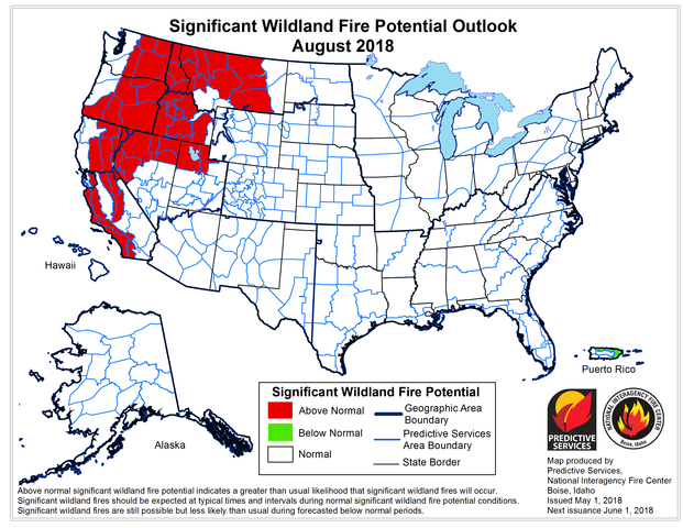 National Fire Map 2018.File Nifc August 2018 Fire Potential Outlook 20180501 Png