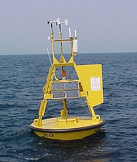 3-metre (9.8 ft) discus buoy located off the Southeast U.S. coast. NOAA-NDBC-discus-buoy.jpg