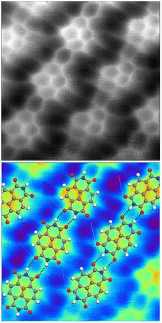 "Hydrogen bond - AFM image of napthalenetetracarboxylic diimide molecules on silver-terminated silicon, interacting via hydrogen bonding, taken at 77  K. (""Hydrogen bonds"" in the top image are exaggerated by artifacts of the imaging technique.)"