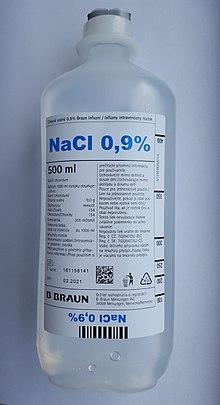 NaCl 0,9% 500ml white background.jpg. Saline solution ...