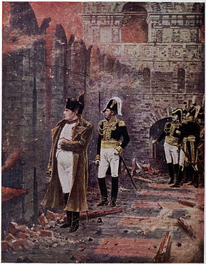 Fire of Moscow (1812) - Napoleon watching the fire of Moscow from the walls of the Kremlin