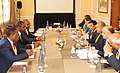 Narendra Singh Tomar and other Indian officials meeting a delegation led by the Minister of Mines, Industry and Energy of Equatorial Guinea, Mr. Gabriel Mbaga Obiang Lima, at Cape Town, in South Africa on February 10, 2015.jpg