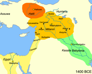 Mitanni - Map of the Near East c. 1400 BC showing the Kingdom of Mitanni at its greatest extent