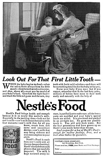 "Nestlé - A 1915 advertisement for ""Nestlés Food"", an early infant formula"