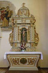 autel-retable latéral droit de Saint-Sébastien avec statue de Saint-Nicolas à Neuve-Église