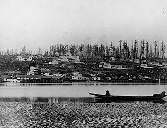 New Westminster - A view of New Westminster from the Fraser River, circa 1865