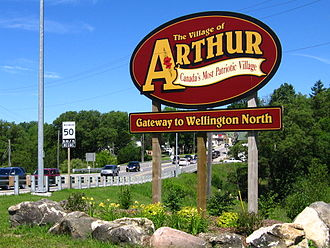 Arthur, Ontario - The Village of Arthur Sign at the Intersection of Hwy 6 and Wellington Road 109.
