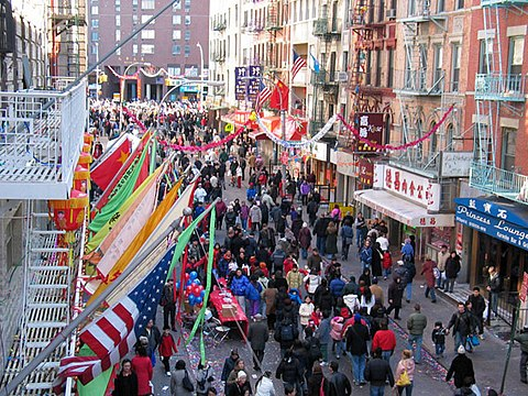 Street fairs are commonplace in Chinatown. New York City Chinatown Celebration 005.jpg