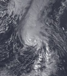 Satellite image of Hurricane Nicole, a moderate Category 1 hurricane